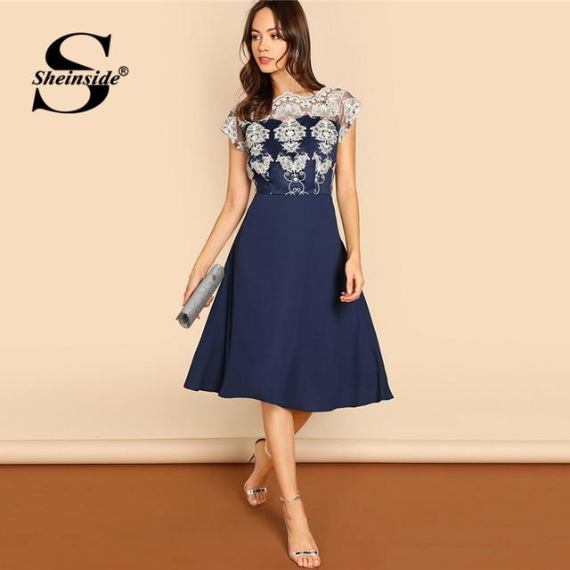 694f71af1c Sheinside Navy Embroidered Mesh Bodice Fit & Flare Summer Dress 2018 Ladies  Elegant Party Dresses For Women A Line Midi Dress
