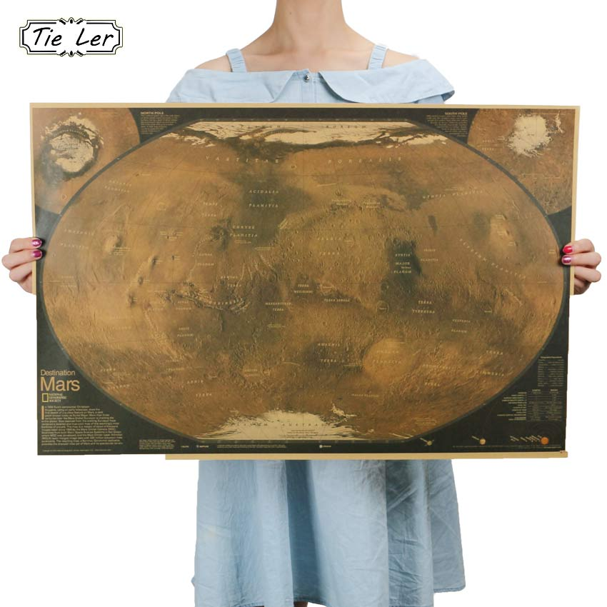 4d39a2c0c36 Buy 1 pcs Mars Map Poster Retro Vintage Living Room Decoration Picture  Large Size Wall Sticker Home Art Posters Online