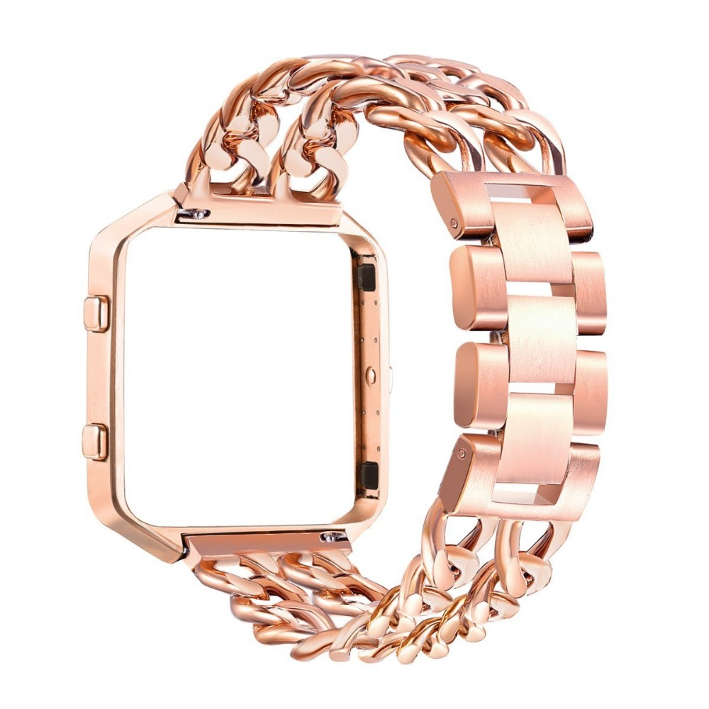 Steel strip + watch frame Replacement Stainless Steel Chain Bands with Metal Frame for Fitbit Blaze Silver Black Rose Gold dragon d1 xt frame simon chamberlain lens blue steel rose