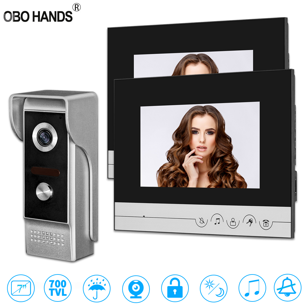 7'' TFT Color Wired Video Intercom System Camera Door Bell Video Door Phone With 2 Monitor IR 700TVL Metal Outdoor Unit For Home