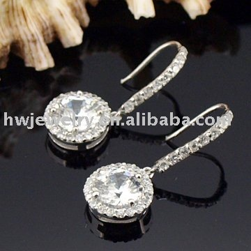 AAA zircon dangle Luxury CZ Diamond Plated Fashion for women Jewelry Fashion Tennis stud ear cuff Wholesale brincos