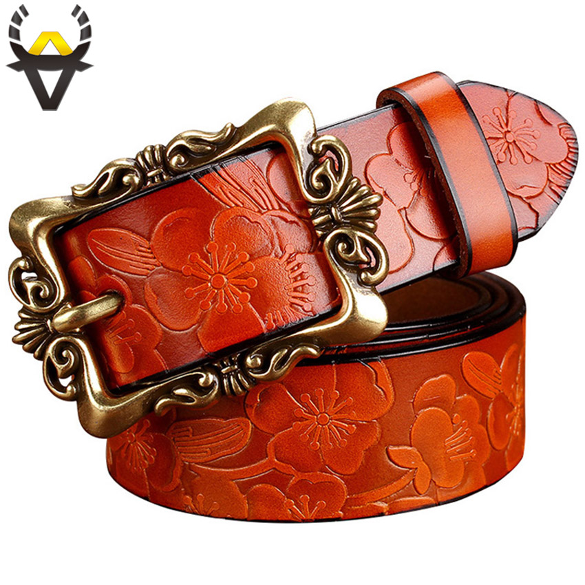 Fashion Wide Genuine Leather Belts For Women Vintage Floral Pin Buckle Woman Belt High Quality Second Layer Cow Skin Jeans Strap