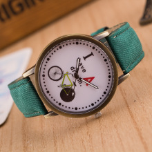 Denim Strap Retro Women Watch Bicycle Pattern Bronze Quartz Watch Casual Men's Sports Wristwatch Clock Relogio Feminino Gifts
