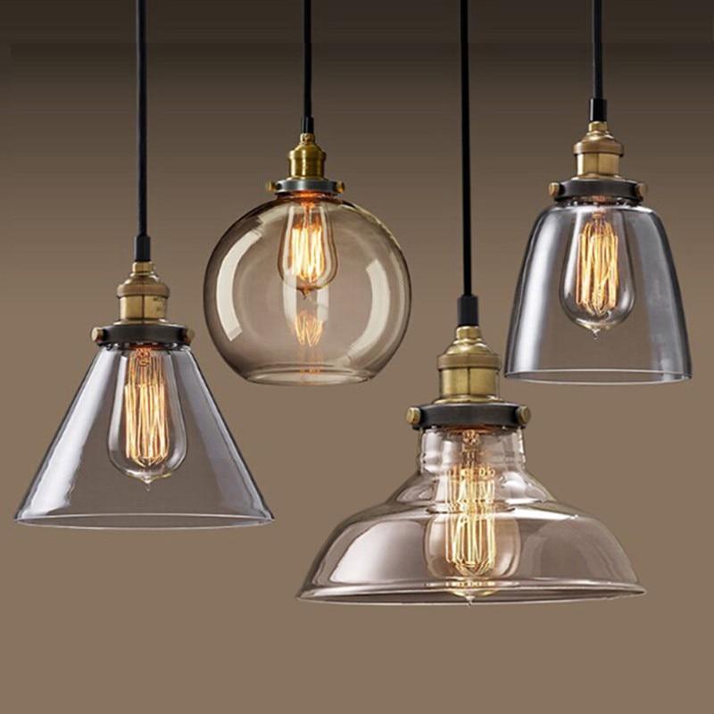 Урожай кулон Світло чаша Скляна підвісна лампа Едісон Світло Підвісна лампа Кухня їдальня освітлення нордичний світильник підвісний