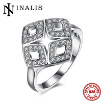 INALIS Large Geometric Cocktail Rings For Women Evening Party Dress High Quality 925 Sterling Silver Jewelry
