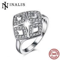 Inalis grande geometrica anelli da cocktail per le donne del partito di sera del vestito di alta qualità 925 gioielli in argento sterling cz libera mid anelli