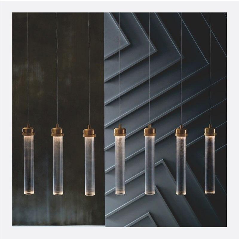 Современные золотые металлические полосы круглые трубки стеклянные подвесные светильники светодиодные подвесные лампы для гостиной стол