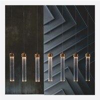 Modern Gold Metal Stripe Round Tube Glass Pendant Lights Led Hanging Lamp Living Room Dining Room Bar Kitchen Lighting Fixtures