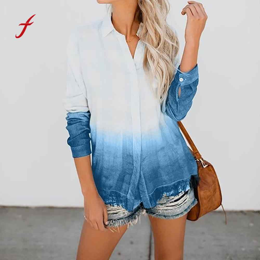 blusas mujer de moda 2018 Women's Fashion Gradient Loose V-neck plus size Long Sleeve shirt Tassel womens tops and blouses
