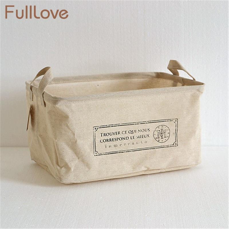 High Quality Cotton Linen Desktop Storage Organizer Sundries Storage Box Cabinet Underwear Storage Basket Printing Fast Shipping