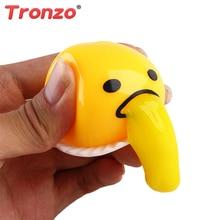Tronzo Squishy Toys Vomiting Egg Funny Practical Jokes Novelty Toy Anti Stress Squishies Gudetama Slow Rising Gift For Child
