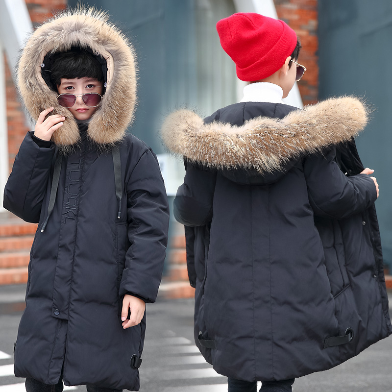 Boys Winter Jacket For Cold Winter Children Thick Duck Down Parkas Animal Fur Collar Kids Outerwear Boy Winter Coat -30 Degree children winter jacket long thick duck down coat for boy warm fur collar hooded winter outerwear kid boy winter windproof parkas