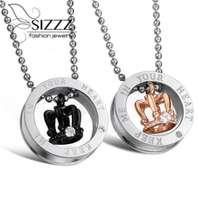 Free shipping fashion jewelry classic 316L Stainless steel Inlaid Rhinestone lovers Crown pendant necklace