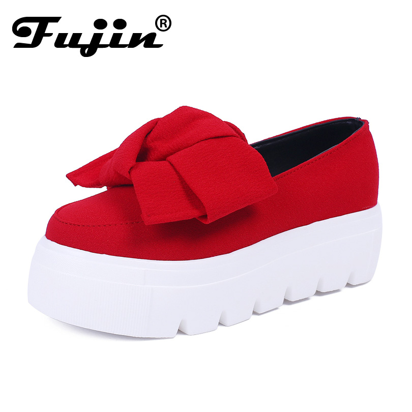 2017 Fujin 5cm flat platform shoes for women grey breathable spring summer women flats bow slip on creeper lady casual shoes