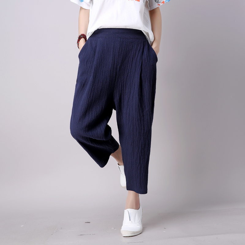 d518f164750 Women Navy Blue Linen Pants Loose Fit New 2017 Ladies Capris Linen ...