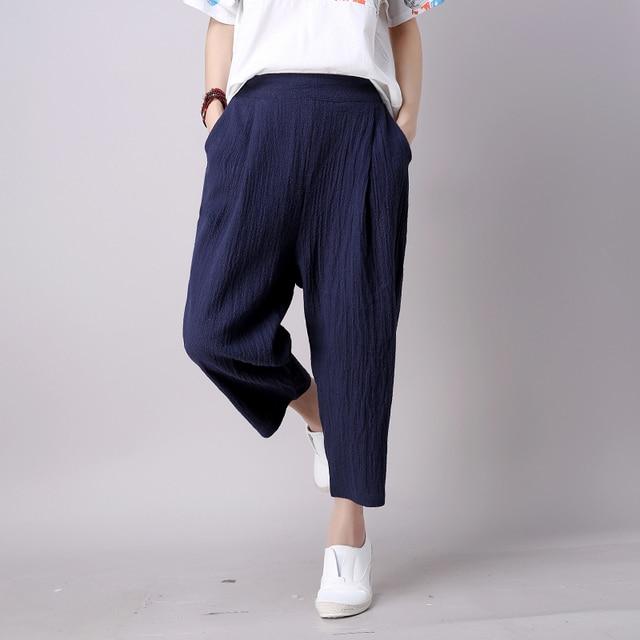 Aliexpress.com : Buy Women Navy Blue Linen Pants Loose Fit New ...