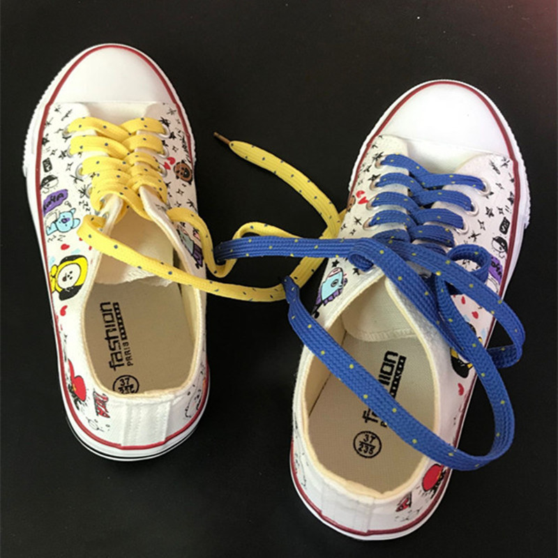 Kpop Bangtan Boys BTS Cotton Cartoon Socks Shoes BT21 JIMIN V Female Shoes Low Tops Shoes For Girls