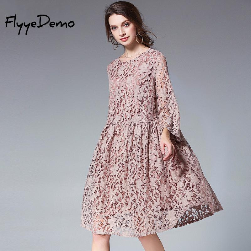 High Quality Loose Dress 2018 Summer Women Elegant Floral Lace Chiffon Dress Knee Length Pleated Women Black Party Dress