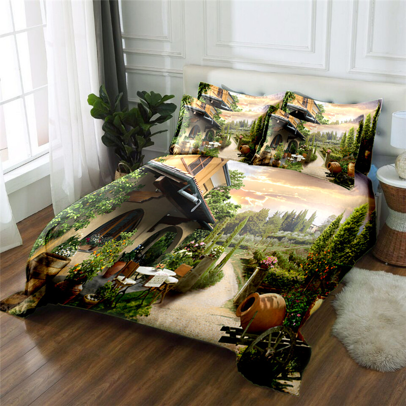 beautiful garden view 3D bedding set 2017 flower bed linens 4pcs duvet cover set twin queen king bed set kids / Adult bedding bebeautiful garden view 3D bedding set 2017 flower bed linens 4pcs duvet cover set twin queen king bed set kids / Adult bedding be