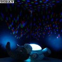 Luz led noche luminosa bebé animal de peluche de felpa Juguetes con música cielo estrella proyector lámpara dormir Juguetes para niños regalos