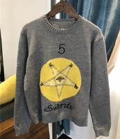 2018 Winter Fashion Gray Knit Sweater Pullovers Women Runway Designer Constellation Embroidery Female Knitted Jumper Clothing