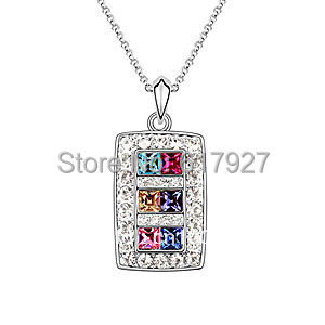 New Arrival Fashion Design Jewelry Beautiful 18K White Gold Plated Pendant Necklace For Women Sparkling crystal necklace K191-4