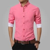 2016 Summer Mens Dress Shirts Cotton Solid Casual Shirt Men Slim Fit Plus Size Long Sleeve
