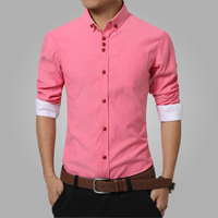 2016 Summer Mens Dress Shirts Cotton Solid Casual Shirt Men Slim Fit Plus Size Long Sleeve