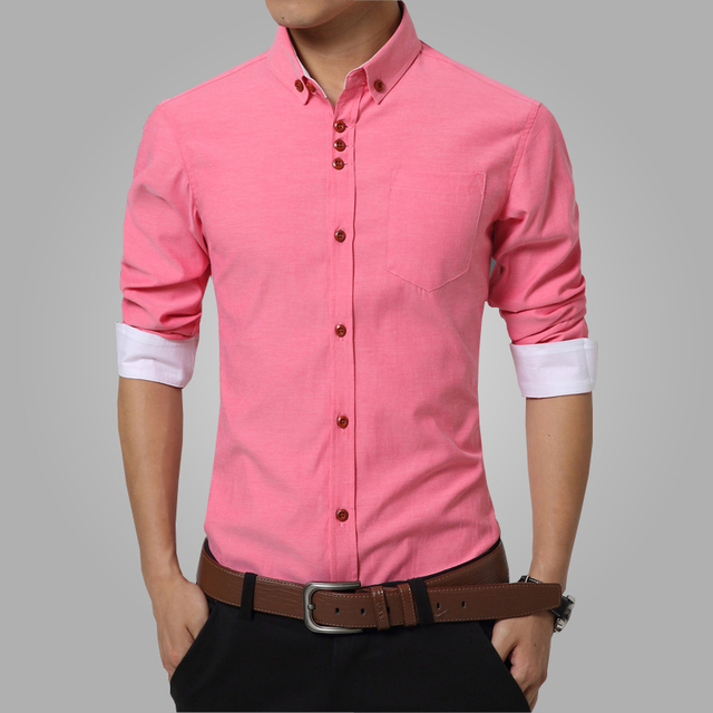 2016 Summer Mens Dress Shirts Cotton Solid Casual Shirt Men Slim ...