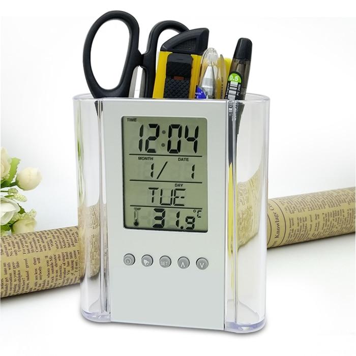 Calendar Pen Holder Lcd Alarm Clock Snooze Electronic Desk