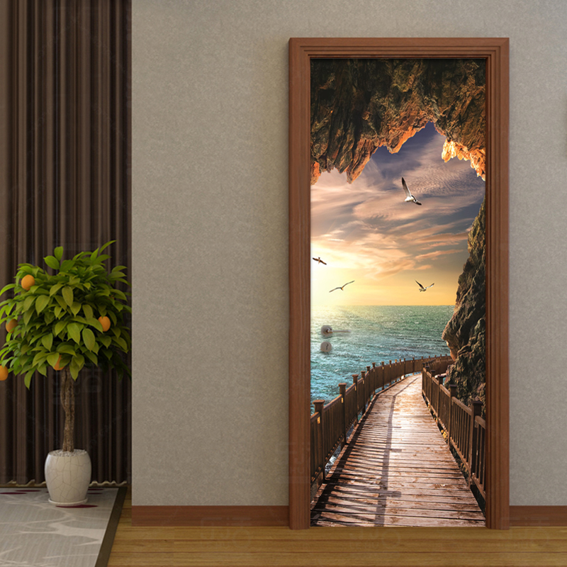 PVC Self-Adhesive Waterproof Mural Wallpaper 3D Seaside Landscape Door Sticker Modern Creative DIY Living Room Bedroom Stickers