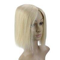 Полный блеск шелковая основа Невидимый кусок волос с зажимами 100% Remy человеческие волосы корона наращивание волос моно волос Топпер #613 13*13 с
