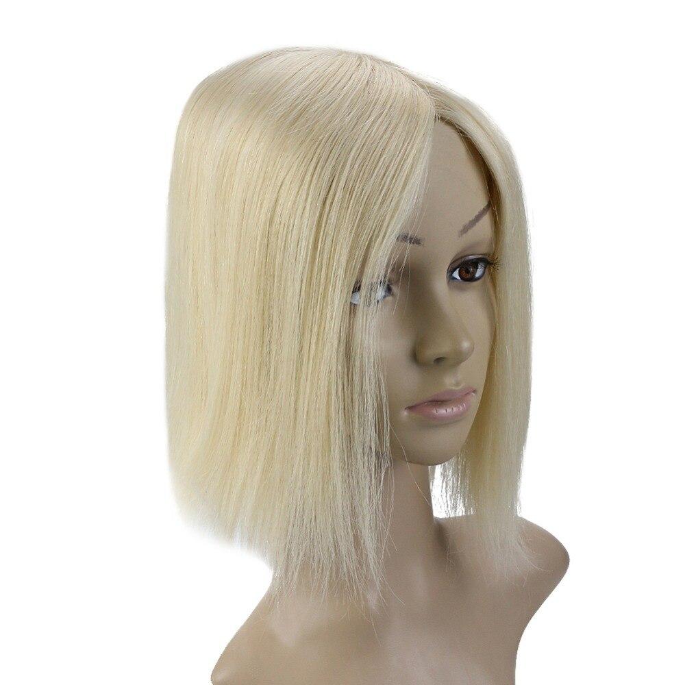 Haarteile Haarverlängerung Und Perücken Voller Glanz Seide Basis Unsichtbare Haar Stück Mit Clips 100% Remy Menschliches Haar Crown Haar Extensions Mono Haar Topper #613 13*13 Cm Stabile Konstruktion