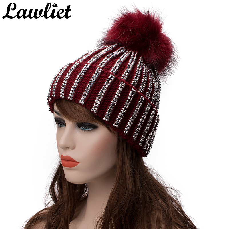 adef1421617 Lawliet Winter Hats Faux Fur Pom Pom Rhinestone Bling Style Women Beanies  High Quality Warm Knitted. sku  32839326283