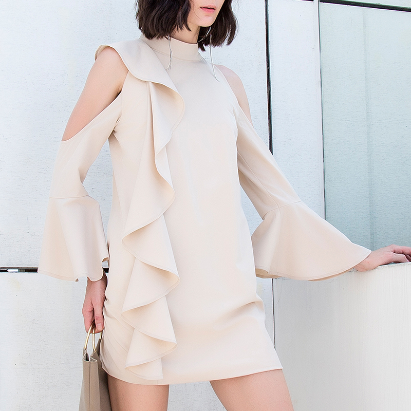 Summer Women Sexy Chiffon Mini Dresses Long Flare Sleeve Casual Short Party Dress Cold Shoulder Loose Evening Club Bodycon Dress