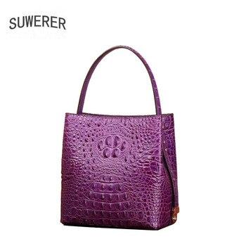 SUWERER 2020 New top cowhide women Genuine Leather bags fashion Luxury Crocodile pattern women handbags schoudertas dames tote