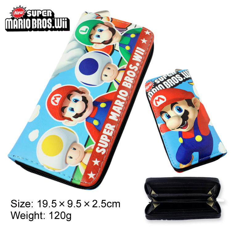 Colorful long style PU wallet printed with Super Mario bros will with zipper