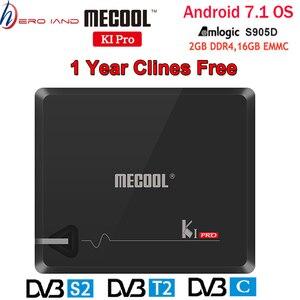 Image 1 - MECOOL KI PRO Android TV Box KI PRO S2 + T2 DVB Amlogic S905D 2 + 16G DVB T2 & s2/DVB T2/DVBS2 Set Top Box 1 Năm Clines Châu Âu Máy Chủ