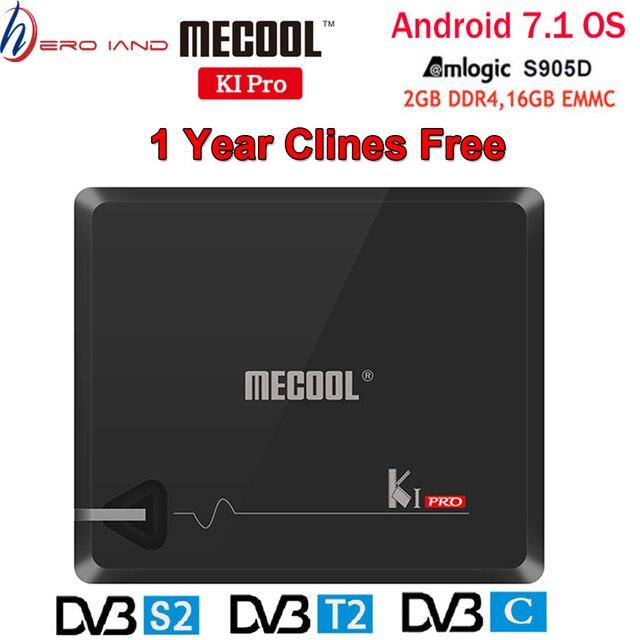 MECOOL KI PRO Android TV Box KI PRO S2 + T2 DVB Amlogic S905D 2 + 16G DVB T2 & s2/DVB T2/DVBS2 Set Top Box 1 Năm Clines Châu Âu Máy Chủ