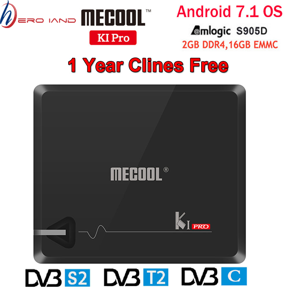MECOOL KI PRO DVB Amlogic Caixa de TV Android KI PRO S2 + T2 S905D 2 + 16G DVB-T2 & s2/DVB-T2/Set Top box 1 DVBS2 Ano Clines Europa Servidor