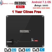 MECOOL KI PRO Android TV Box KI PRO S2+T2 DVB Amlogic S905D 2+16G DVB T2&S2/DVB T2/DVBS2 Set Top box 1 Year Clines Europe Server