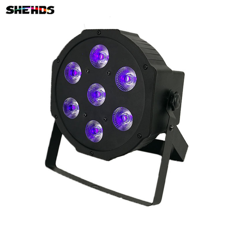 2018 LED Flat Par 7x3W Ultraviole Color Stage Lighting Business Lights High Power Professional for Party KTV Disco DJ Show hot ac 90 240v 54 x 1w rgb led stage light high power flat par light led stage lighting projector lamp for party ktv disco dj