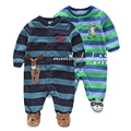 Новый 2015 весна осень ребенка комбинезон детская одежда комбинезоны детские мальчиков С Длинным рукавом флис полосатый rompers новорожденных Footsies