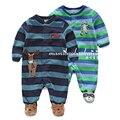 Nuevo 2015 primavera otoño mamelucos del bebé embroma la ropa trajes niños bebés de manga Larga polar mamelucos rayados recién nacido Footsies