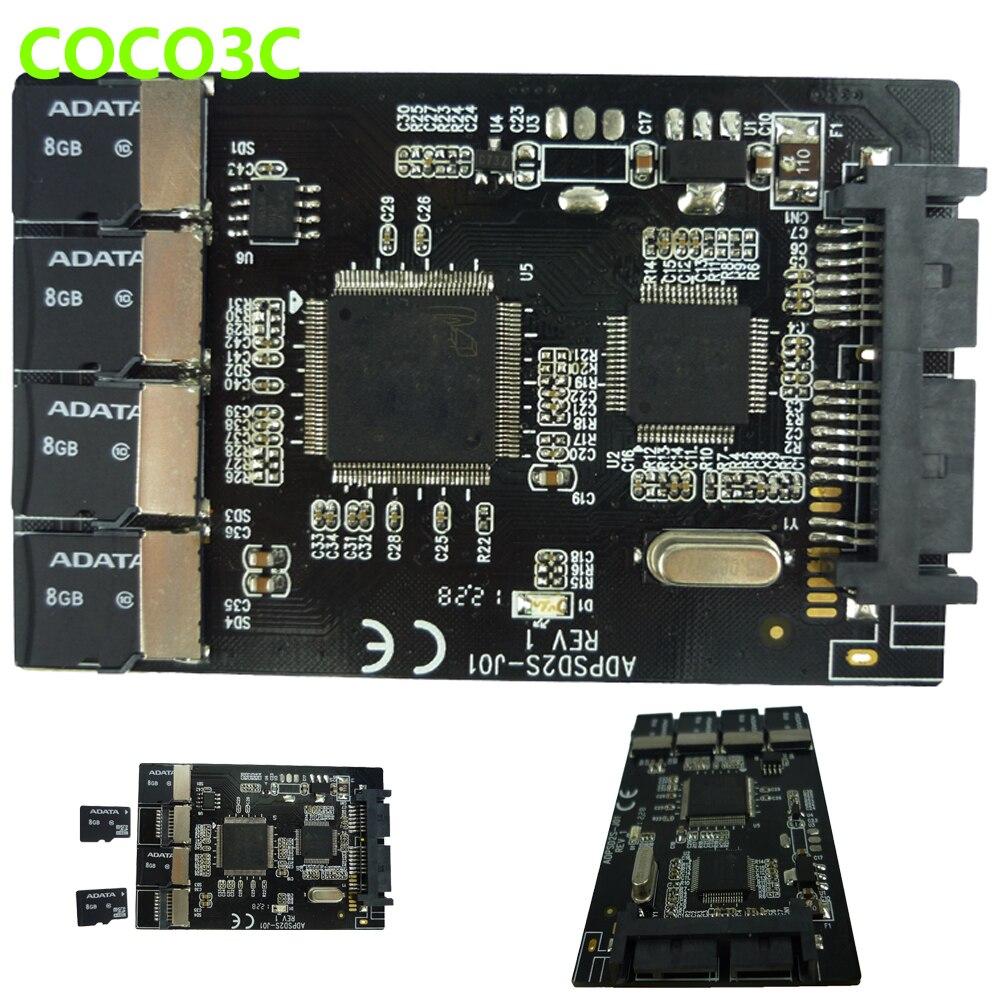 Free shipping Multi Micro SD Card to Micro SATA adapter card 1.8 hdd enclosure with RAID 4 TF to 16 pin SATA converter