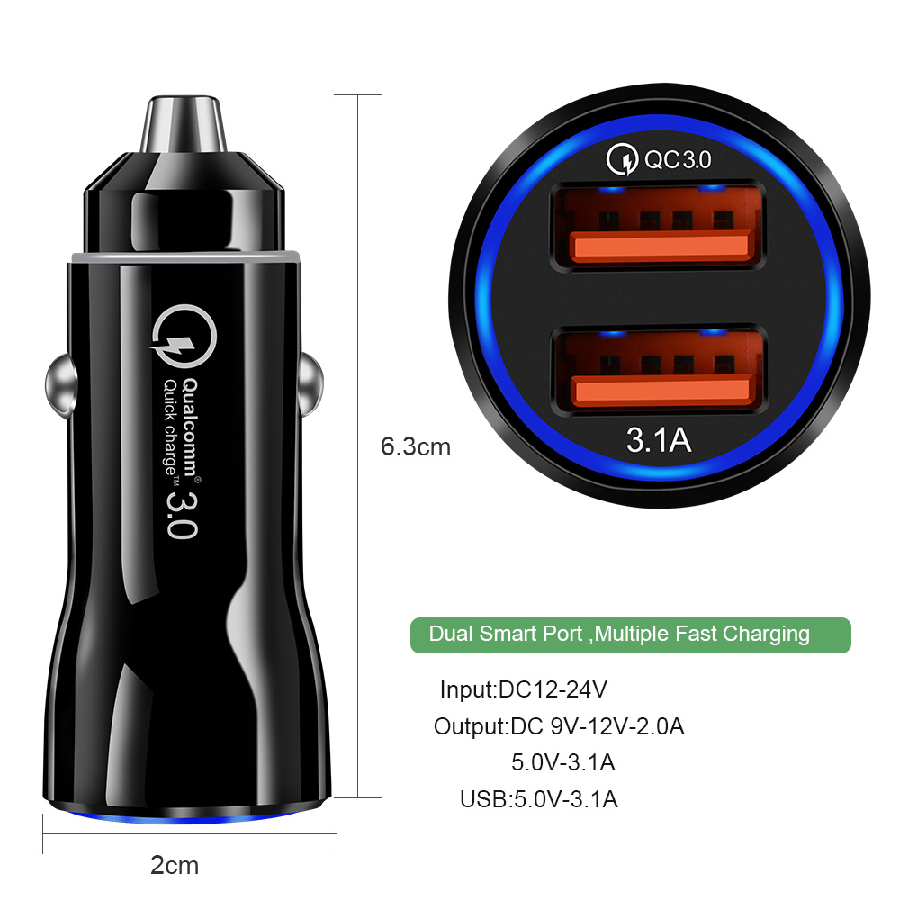 Olaf Car USB Charger Quick Charge 3.0 2.0 Mobile Phone Charger 2 Port USB Fast Car Charger for iPhone Samsung Tablet Car Charger-in Car Chargers from Cellphones & Telecommunications on Aliexpress.com | Alibaba Group 8