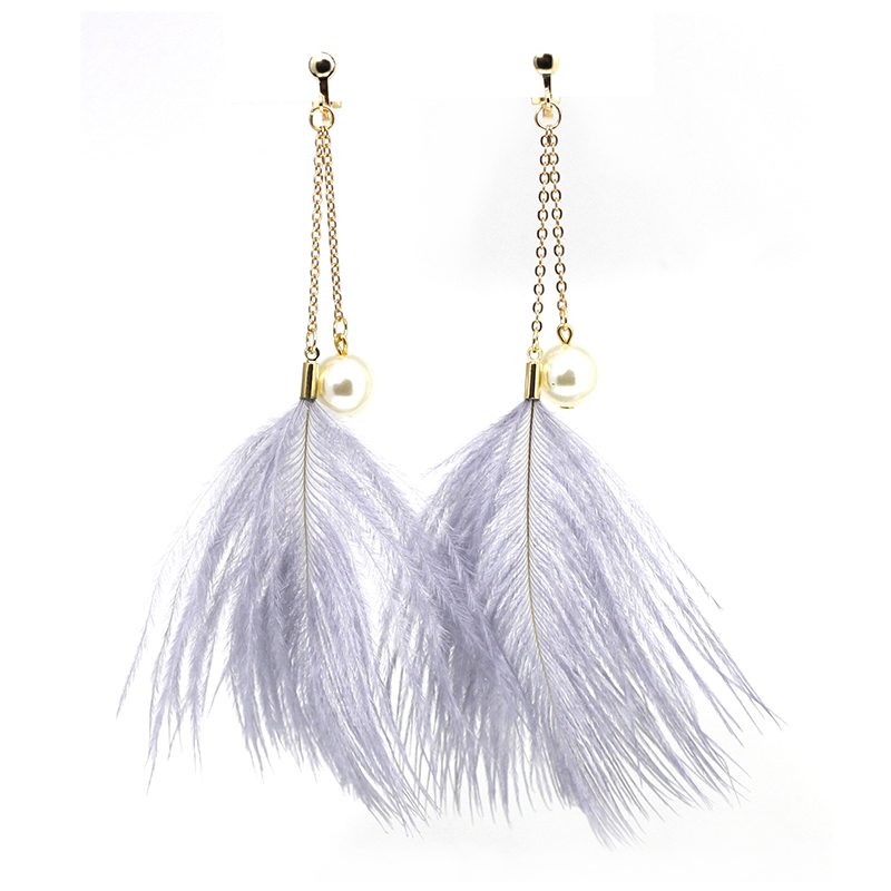 Ostrich Feathers Earrings No Hole Ear Clip Simulated Pearl Feather