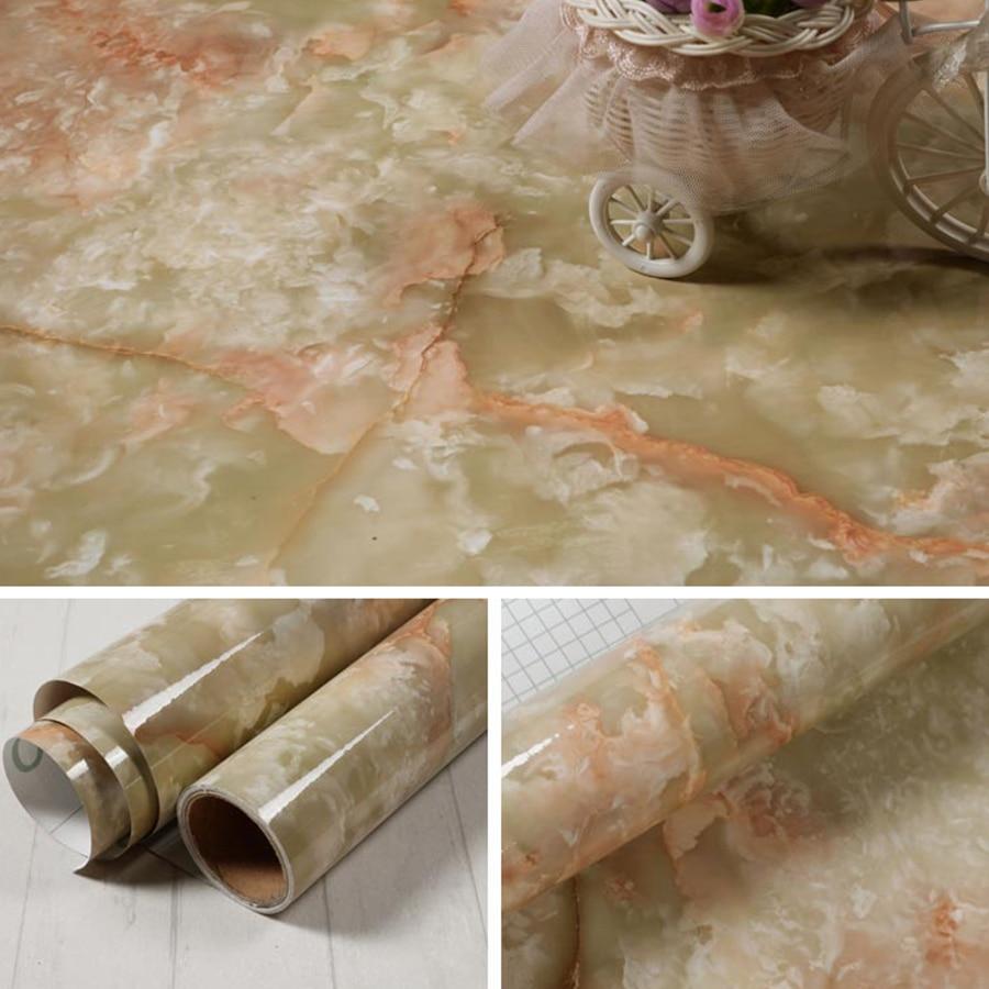 Купить с кэшбэком Modern Marble Self Adhesive Wallpaper Kitchen Cupboard Vinyl Contact Paper Furniture Table Shelf Drawer Waterproof Wall Stickers