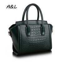 2016 Women Luxury Brand Genuine Leather Handbag Office Lady New Fashion Tote Female Crocodile Grain Shoulder