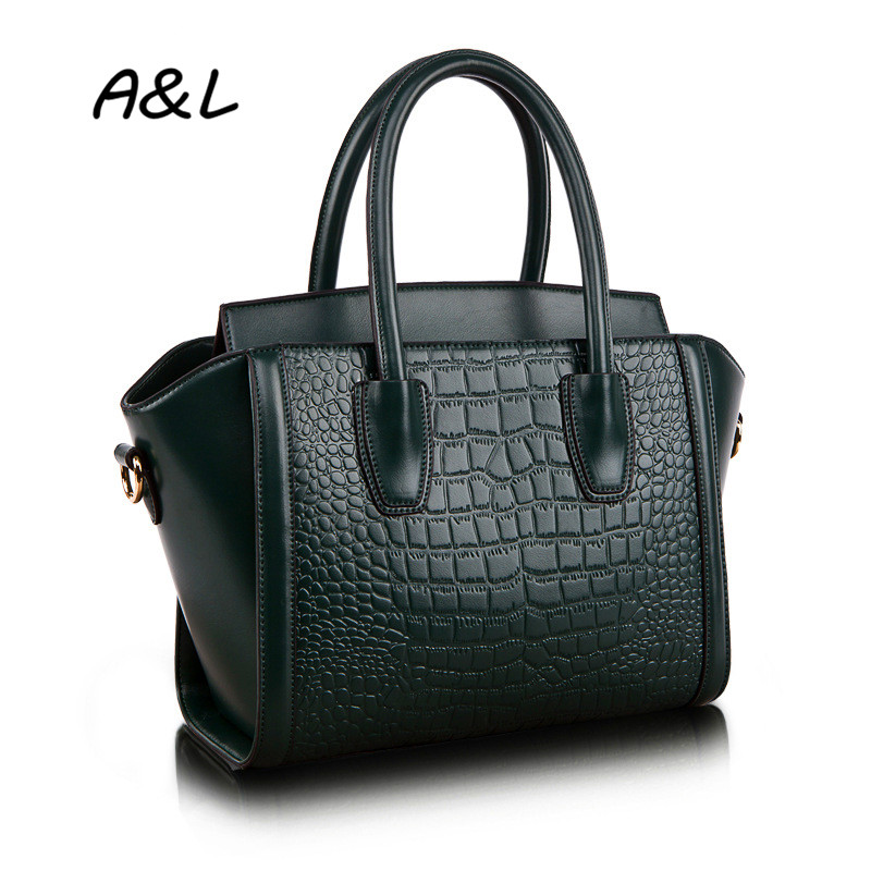 2016 Women Luxury Brand Genuine Leather Handbag Office Lady New Fashion Tote Female Crocodile Grain Shoulder Messenger Bag A0039 100% genuine leather women bags luxury serpentine real leather women handbag new fashion messenger shoulder bag female totes 3
